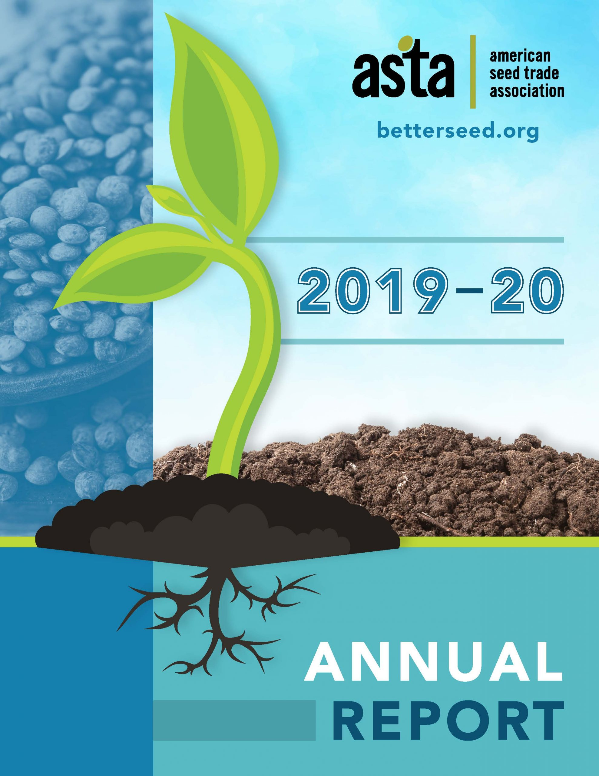 blue report cover with a seedling graphic front and center and seeds along the left hand side